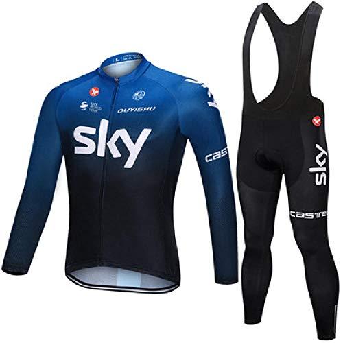 Ciclismo Maillot y Culotte Ciclismo Culote Bicicleta ,Conjunto completo de maillot de ciclismo, maillot y pantalones de ciclismo de manga larga a prueba de viento de invierno para hombre-7_2XL