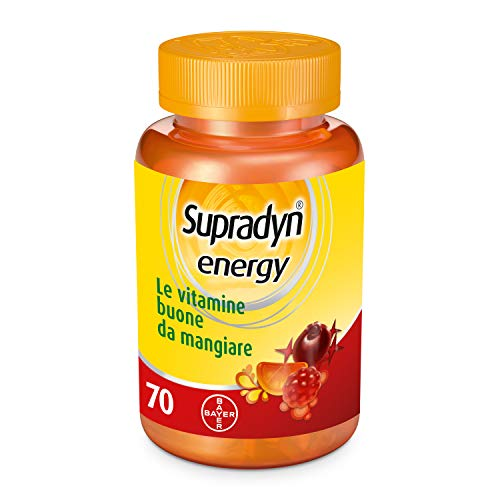 Supradyn Energy - Integratore Multivitaminico Anti Stanchezza - 70 Caramelle Gommose ai deliziosi gusti di Ciliegia, Arancia e Lampone