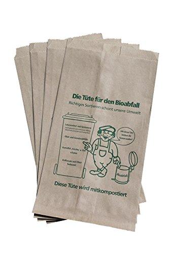 200 Bioabfalltüten Papier braun 9,5 l Biomülltüten Kompostbeutel Mülltüten Müllbeutel Bio 20 + 16 x 36 cm