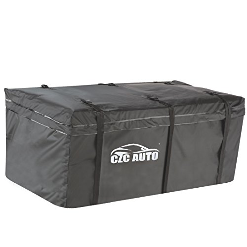 CZC AUTO Hitch Cargo Carrier Bag, 20 cu. ft Waterproof Rainproof Weatherproof Cargo Traveling Bag for Car Truck SUV Vans  Hitch Trays and Hitch Baskets, Safe Steady Durable Soft, Black