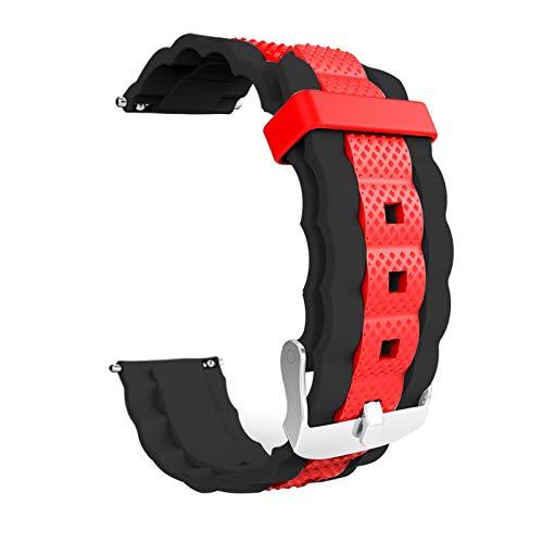 KingbeefLIU Correa de reloj de 20 mm ajustable de silicona deportiva correa de reloj para Xiaomi-Mibro Air Negro Rojo