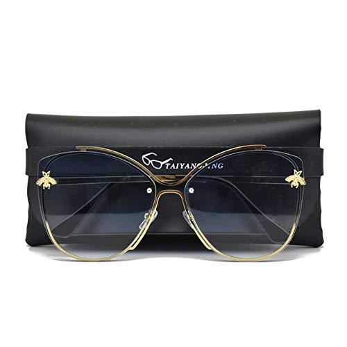 WSMWSM Gafas de Sol Mujer Cat Eye Brand Design Espejo Classic Bee Vintage Cateye Fashion Gafas de Sol Lady Eyewear with Case Gradient Blue