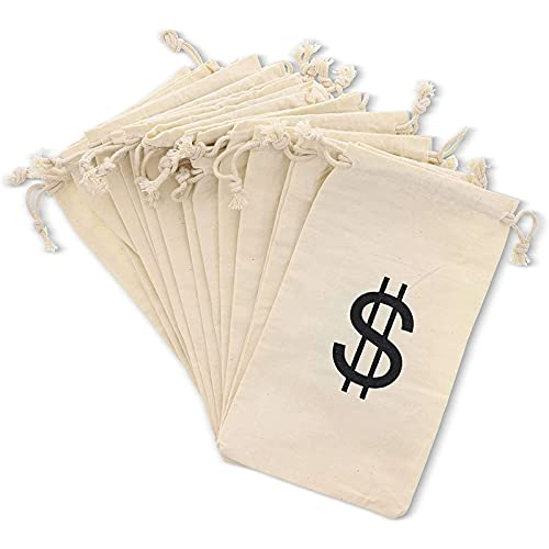 Money Bag Prop for Kids, Cotton Drawstring Pouch (4.3 x 7 In, 12 Pack)