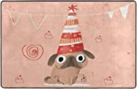 フレンチブルドッグかわいいピンクおかしい誕生日スーパーソフト屋内モダンエリアラグふわふわラグダイニングルームホームベッドルームカーペットフロアマットベビーキッズ犬猫80x58インチ-80x58インチ