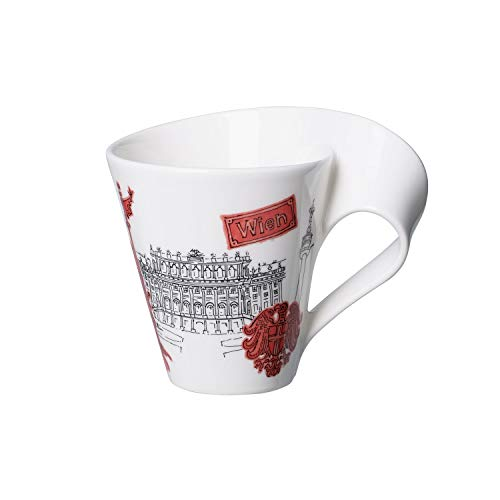 Villeroy & Boch Cities of the World Kaffeebecher Wien, 300 ml, Premium Porzellan, rot