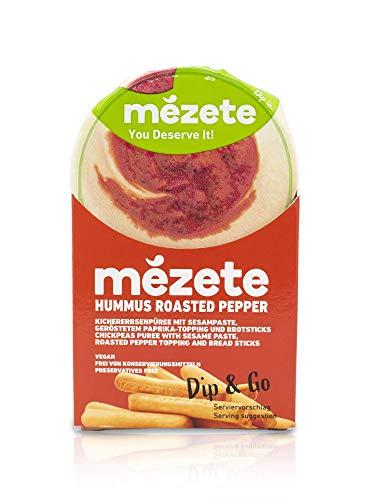 MEZETE Hummus Dip & Go, geröstete Paprika mit knusprigen Brotsticks, Ideal für unterwegs, helle und cremige Konsistenz, vegan und halal, (1 x 92 g), 3246