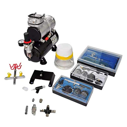 vidaXL Profi Airbrush Kompressor Komplett-Set mit 3 Pistolen Airbrushpistole