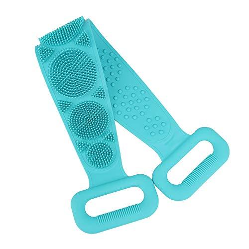 WAZA Toalla de Baño de Silicona Toalla de Espalda Larga Esponja Cepillo de Baño de Ducha Exfoliante Cuidado de Piel de Cuerpo Masajeador de Baño para Hogar (Verde)