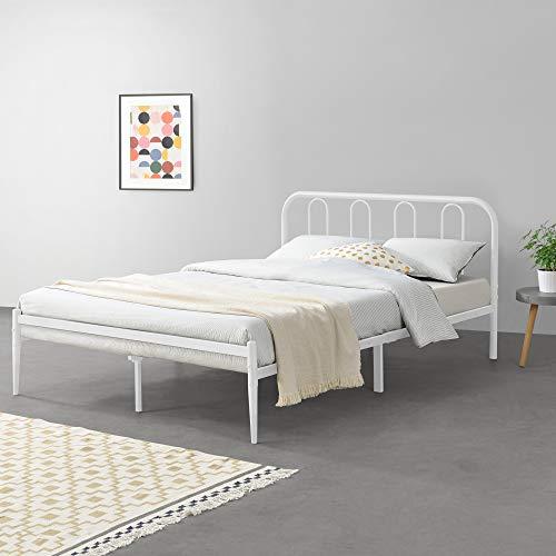 [en.casa] Metallbett 140 x 200cm Weiß Stahlrahmen Jugendbett Doppelbett Bettgestell