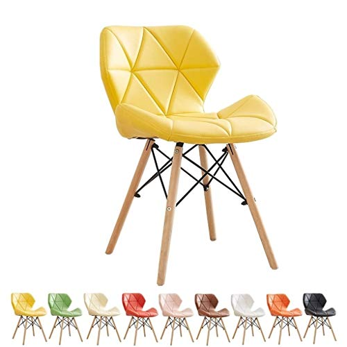 zyy Küchenstühle, Esszimmerstühle, Retro-PU-Leder, Beine aus natürlichem Massivholz und Metallgestell, Kombination...