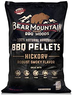 Bear Mountain BBQ 100% All-Natural Hardwood Pellets - Hickory (20 lb. Bag) Perfect for Pellet Smokers, or Any Outdoor Grill | Rich, Smoky Wood-Fired Flavor