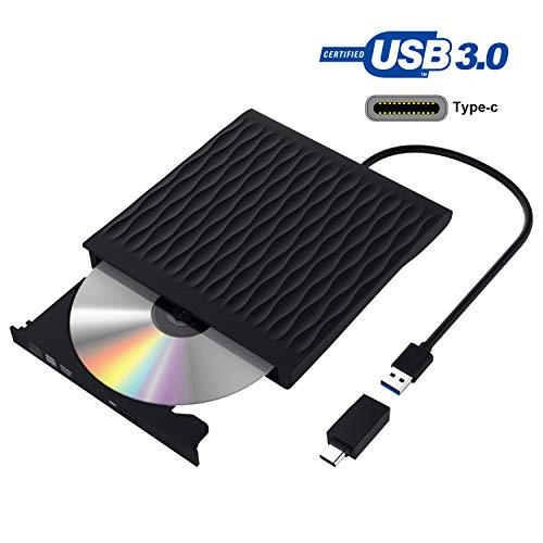 Grabadora DVD, Lector CD/DVD Usb 3.0 y Type-C, Ultra Slim Portátil Unidad de DVD, Disquetera Externa CD/DVD-RW Super Drive, Compatible con WIN98 /XP/7/8/10/XP/VISTA/Mac OS