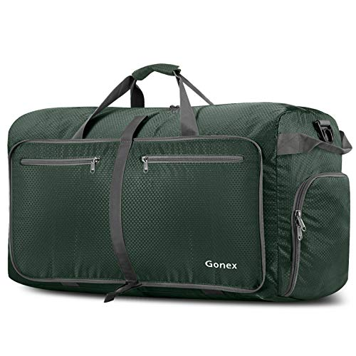Gonex 100L Foldable Travel Duffel Bag for Luggage Gym Sports, Lightweight Travel Bag with Big Capacity, Water Repellent (Dark green)