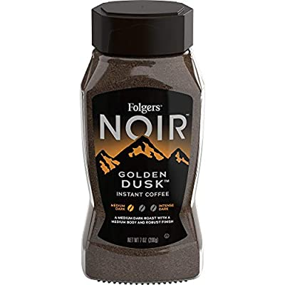 Folgers Noir Golden Dusk Medium Dark Roast Instant Coffee, 7 Ounces (Pack of 6)