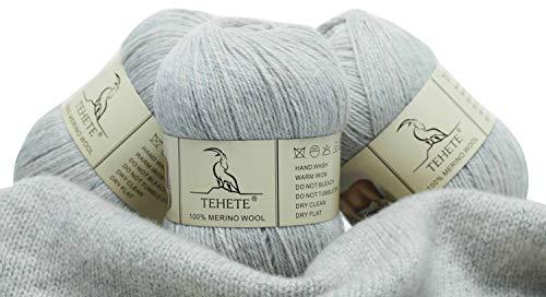 TEHETE Ovillo de lana, 100% Hilados de lana merino Hilo 3 Bolas x 50g para manta, suéter calcetín, bufanda, diy, ganchillo y tejido(Gris)