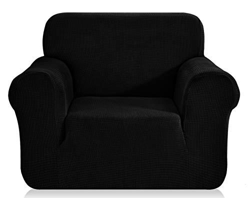 E EBETA Elastisch Sofa Überwürfe Sofabezug, Stretch Sofahusse Sofa Abdeckung Hussen für Sofa, Couch, Sessel 1 Sitzer (Schwarz, 85-115 cm)