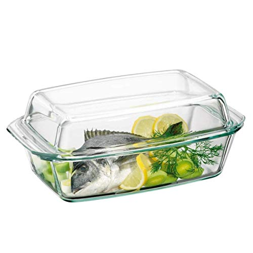Clear Oblong Glass Casserole by Simax | High Lid Doubles as Roaster, Heat, Cold and Shock Proof, Dishwasher Safe, Made in Europe, 3 Quart Casserole Pan