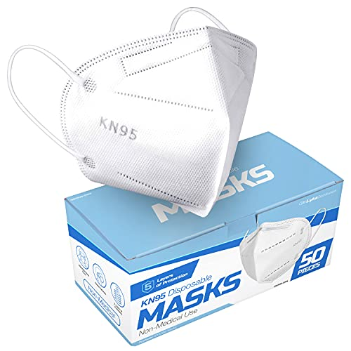 Lyka Distribution KN95 Face Masks - 50 Pack - 5 Layer Protection Breathable KN95 Face Mask - Filtration95% with Comfortable Elastic Ear Loop | Non-Woven Polypropylene Fabric