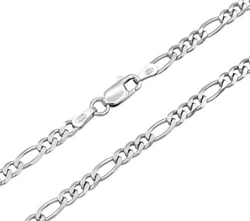 Figarokette 925 Sterling Silber rhodiniert 3 mm breit Länge wählbar 45 50 55 60 cm Silberkette Halskette Kette anlaufgeschützt (50)