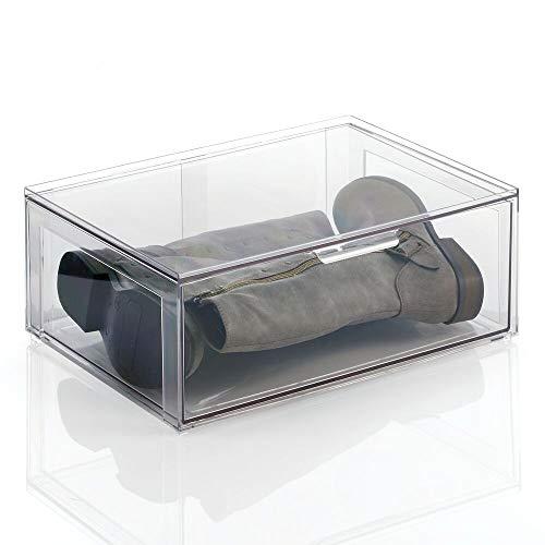 mDesign Cajas de plástico Transparente Grandes – Organizador de armarios apilable y rígido con cajón extraíble – Caja para Guardar Zapatos, Accesorios y Otros Objetos – Juego de 2 – Transparente