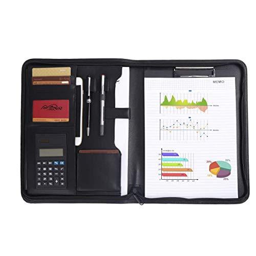 Leathario Cartella Portadocumenti A4 in Ecopelle Portablocchi Unisex per Ufficio Conferenza Cartellina Custodia Organizzatore con Quaderno Calcolatrice