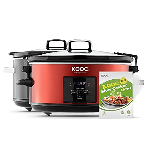 [NEW] KOOC Programmable Slow Cooker 7-Quart, Larger than 6 Quart, Digital Timer, Free Liners for Easy Clean, Portable with Lid Lock, Upgraded pot, Adjustable Temp, Nutrient Reduction, Red, Oval