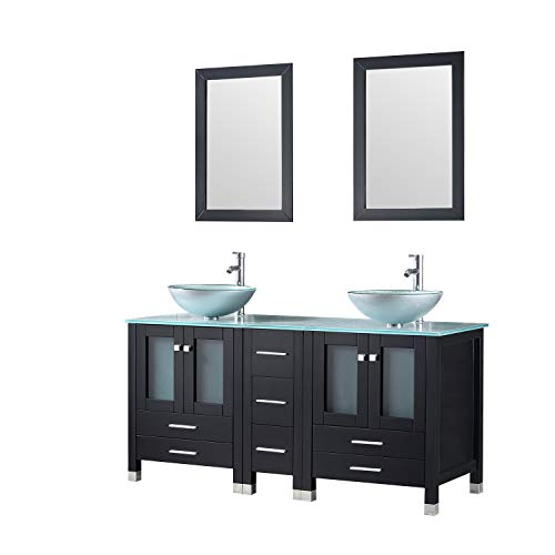 Walcut 60Inch Black Bathroom Vanity and Sink Combo Double MDF Cabinet with Double Glass Vessel Sink and Faucet Combo (Silver Green), 60'