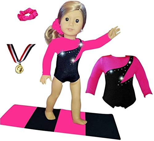18 inch Doll Gymnastics Outfit Neon Pink - Compatible with18 inch Doll Clothes and Accessories (4 Pieces in All)
