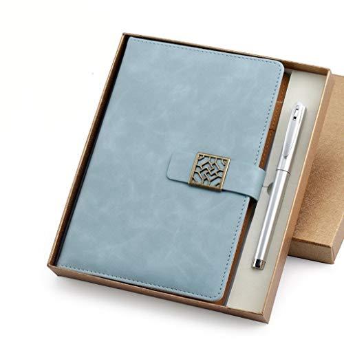 ZRJ Pequeño Cuaderno Cuaderno de Negocios Diario Bloc de Notas Espesar Literario Cinturón de Cuero Hebilla Conferencia de Trabajo Libro de Registros 8.4x5.9 Pulgadas Regalos (Color : Light Blue)