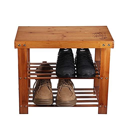 ARONTIME Zapatero de madera de 2 capas, zapatero multifunción, organizador de almacenamiento de zapatos con soporte de banco, taburete de cambio de zapatos