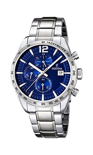 Festina Herren Chronograph Quarz Uhr mit Edelstahl Armband F16759/3