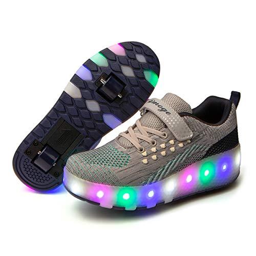 Zapatos con Ruedas Zapatillas con Dos Ruedas para niños y niña Heelys Led Luces Zapatillas con Ruedas Se Puede Bambas con Ruedas Carga con USB Automática Calzado de Skateboarding