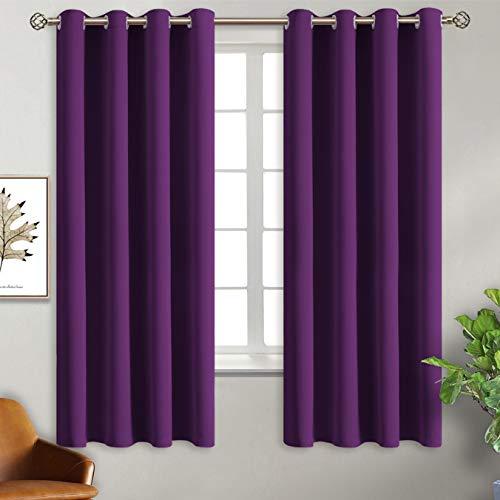 BGment Ösenvorhang Violett Thermovorhang blickdichte Gardine,137 x 117 cm (H x B),2er-Set,Verdunkelungsvorhänge Blickdicht Vorhang mit Ösen für Wohnzimmer