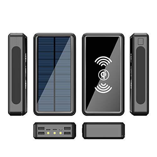AEU Solar Powerbank Cargador Solar, 10W QI Carga Inalámbrica, Batería Externa Portátil De Carga Rápida Linterna LED, 3 Entradas 4 Salidas, para Tabletas, Teléfono Móvil, Viajes ES986S,Negro,80000mAh