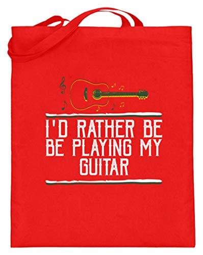 SPIRITSHIRTSHOP I'd Rather Be Playing My Guitar - Jutebeutel (mit langen Henkeln) -38cm-42cm-Rubinrot