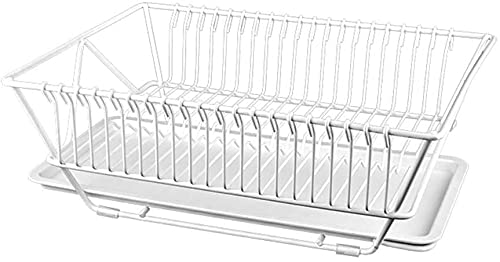 KMILE Over The Sink Dish Drying Rack Kitchen Dish Drainer Dish Drying Rack Detachable Dual Layers with Drip Tray Utensil Holder Stylish and Well Made Countertop Dish Drying Rack Organizer Set