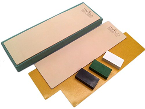 Kit of 2 Leather Honing Strop 3 Inch by 10 Inch with 3 One Oz. Black, Green & White Sharpening Polishing Compounds (One of Each) & Double-Sided Adhesive Tapes by Upon Leather