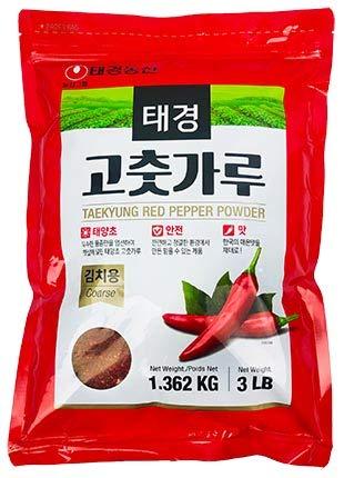 Tae-kyung Korean Red Chili Pepper Flakes Powder Gochugaru, 3 LBS (3 Pound)