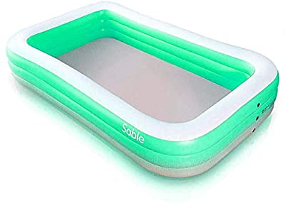 "Sable Inflatable Pool, Blow Up Family Full-Sized Pool for Kids, Toddlers, Infant & Adult, 118"" X 72"" X 20"", Swim Center for Ages 3+, Outdoor, Garden, Backyard, Summer Water Party"
