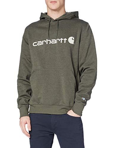 Carhartt Force Delmont Graphic Hooded Sweatshirt Sudadera con capucha, Moss Heather, L para Hombre