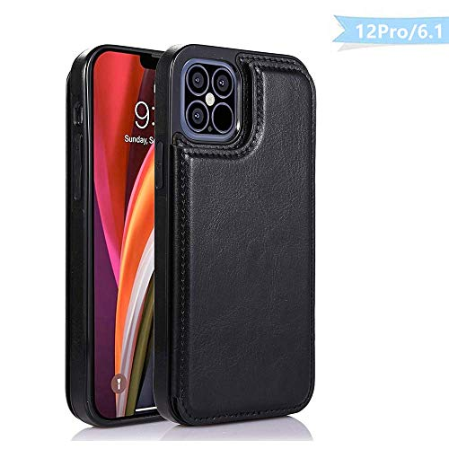 LEWOTE Leather Case for iPhone 12 Pro[6.1inch], PU Leather Back Flip Wallet Cover Compatible with Apple iPhone 12 Pro [Card Slots] [Shockproof] [Magnetic Closure]