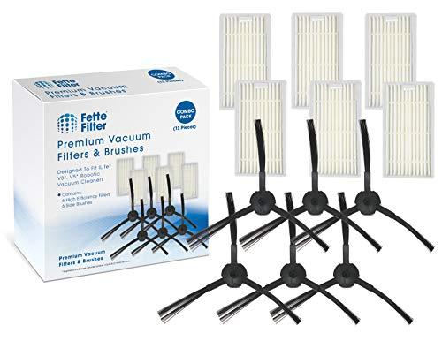 Fette Filter - Robot Vacuum Cleaner Filter & Side Brush Kit for V3 V3s V5 V5s Compatible for ILIFE. (Packs of 6) Central Dining Features Filters Kitchen Vacuum