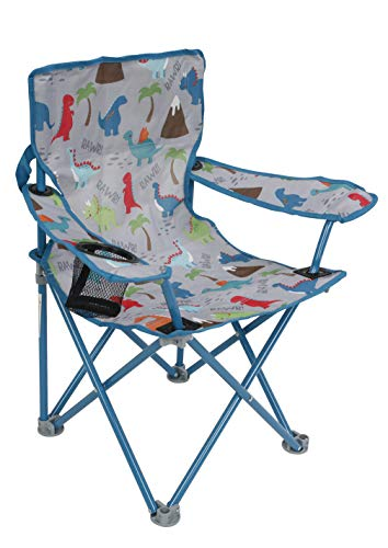 Kids Childrens Foldable Camp Camping Sports Dino Dinosaur Chair with Safety Lock and Carry Bag 125 Pound Weight Capacity
