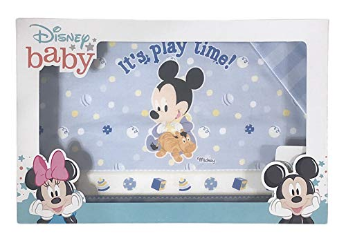 Juego de 3 sábanas para cuna de bebé, 100% algodón, diseño de Mickey Mouse Play Time, de Disney