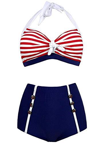 Futurino Damen Frühjahr/Sommer Vintage Retro Nautical Sailor Bügel Push Up Bikini Sets Bademode, EU32, Mehrfarbig