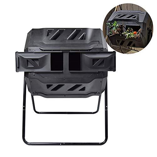 SQUEEZE master Doppel Kammer Kompost Tumbler Bin, Bessere Luftzirkulation Effizienter Komposter,Rotierendes Tumbling Komposter Bin für Garten, 160L Schwarz