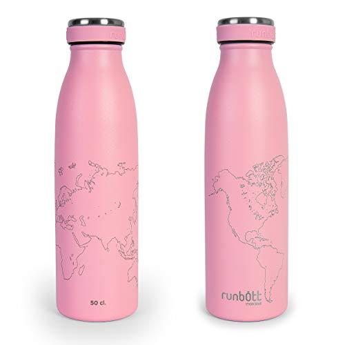 Botella Térmica Runbott City World Map Edition 500ml, Doble Capa de Acero 316 y Silicona, Cero Plásticos. Color Rosa Palo