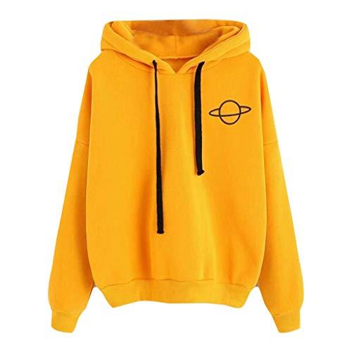 GOKOMO Kapuzenpullover Frauen lose beiläufige gedruckte mit Kapuze Strickjacke Pullover Bluse übersteigt Jacke(Gelb,Large)