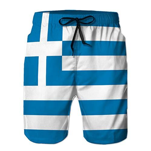 Yuerb Mens Summer Swim Trunk Greek Flag