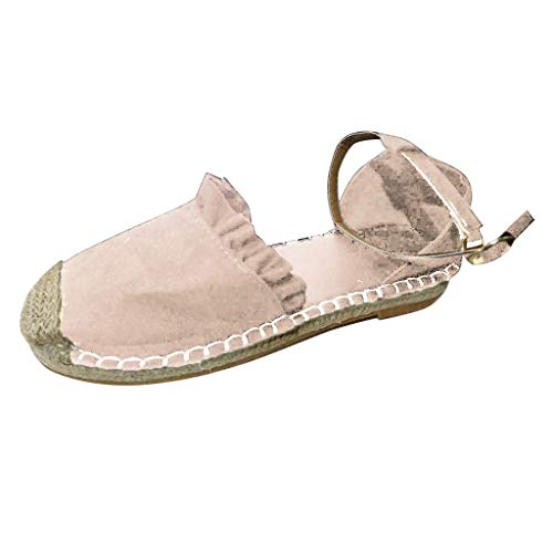 iYmitz Römersandalen Mode Retro Flache Beiläufige Schuhe Stroh Leinen Schnalle Rüsche Pumps Outdoorschuhe Schuhe für Damen (Beige,EU-36/CN-36)